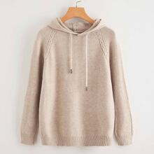 Raglan Sleeve Hooded Sweater