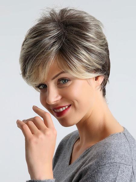 Milanoo Pelucas de pelo corto Rubio en capas Pelucas sinteticas de despedida al lado