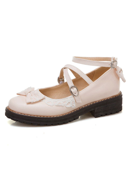 Milanoo Sweet Lolita Footwear Ecru White Bows Bow PU Leather Tacon grueso Bombas Lolita