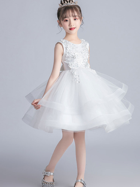 Milanoo Flower Girl Dresses White Jewel Neck Short Sleeves Embroidered Kids Party Dresses