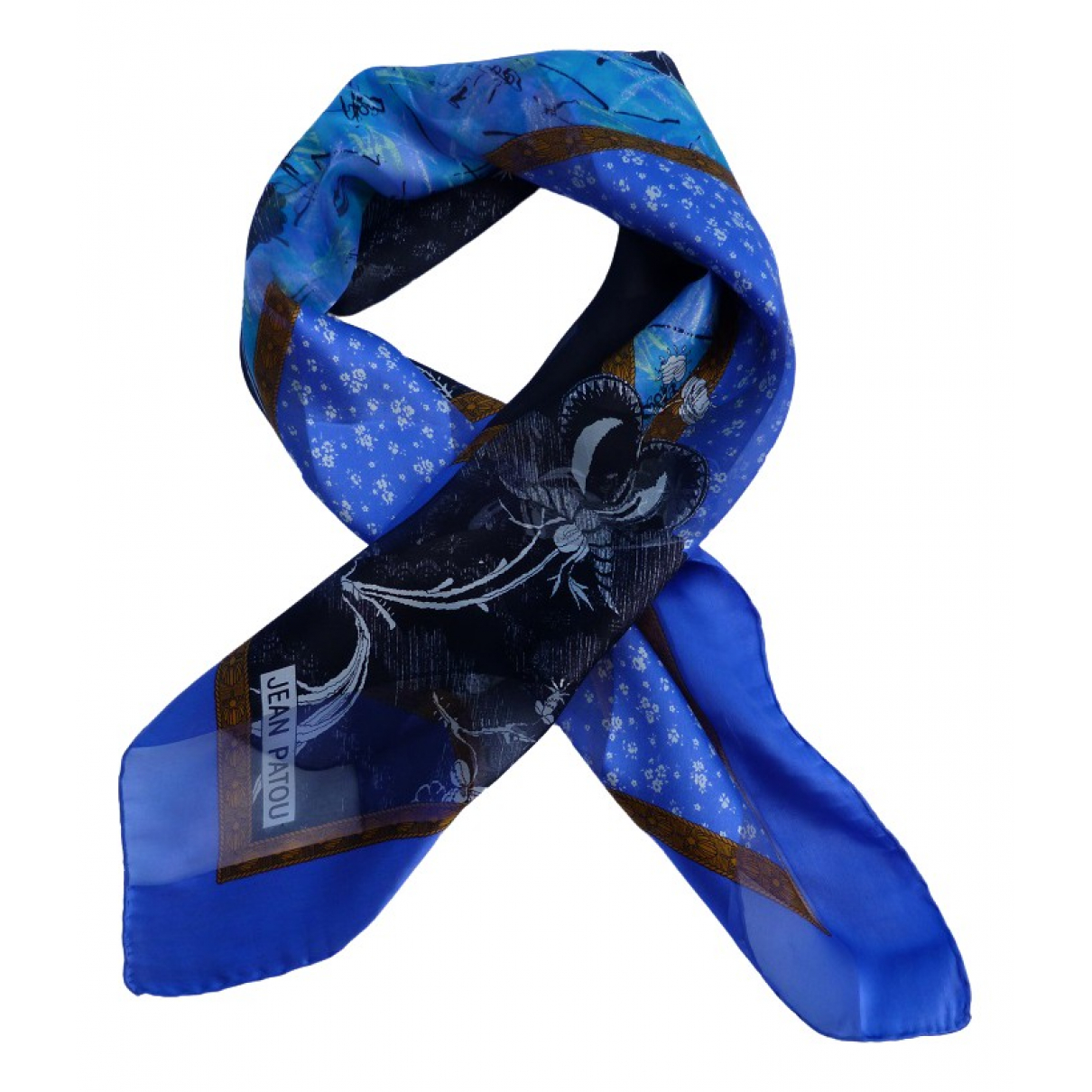 Jean Patou - Foulard   pour femme en soie - bleu