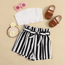 Girls Rib-knit Tube Top and Paperbag Waist Striped Shorts Set