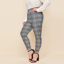 Plus Asymmetrical Waistband Plaid Skinny Pants