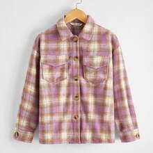 Girls Button Front Plaid Coat