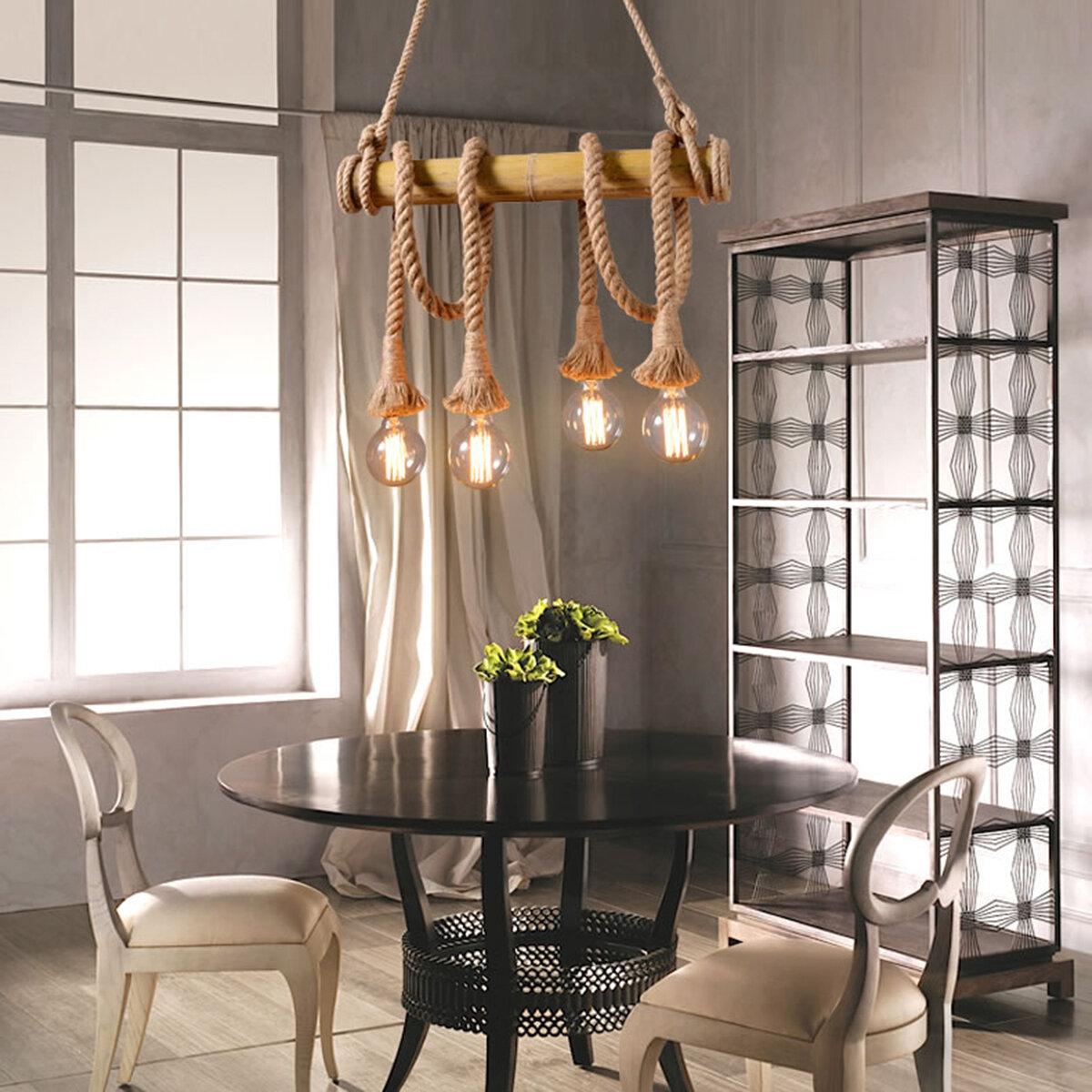 4 Head Industrial Retro Country Hemp Rope Ceilin Chandelier Pendant Light Edison Lamp