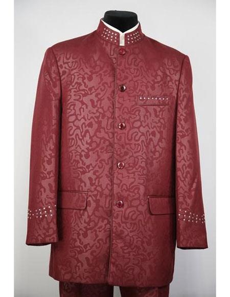 Men's Mandarin Collar Burgundy 5 Button 2piece Floral Print Suit