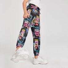 Hose mit Knoten und Pop Art Muster
