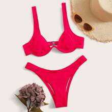 Bikini con corte alto top con aro