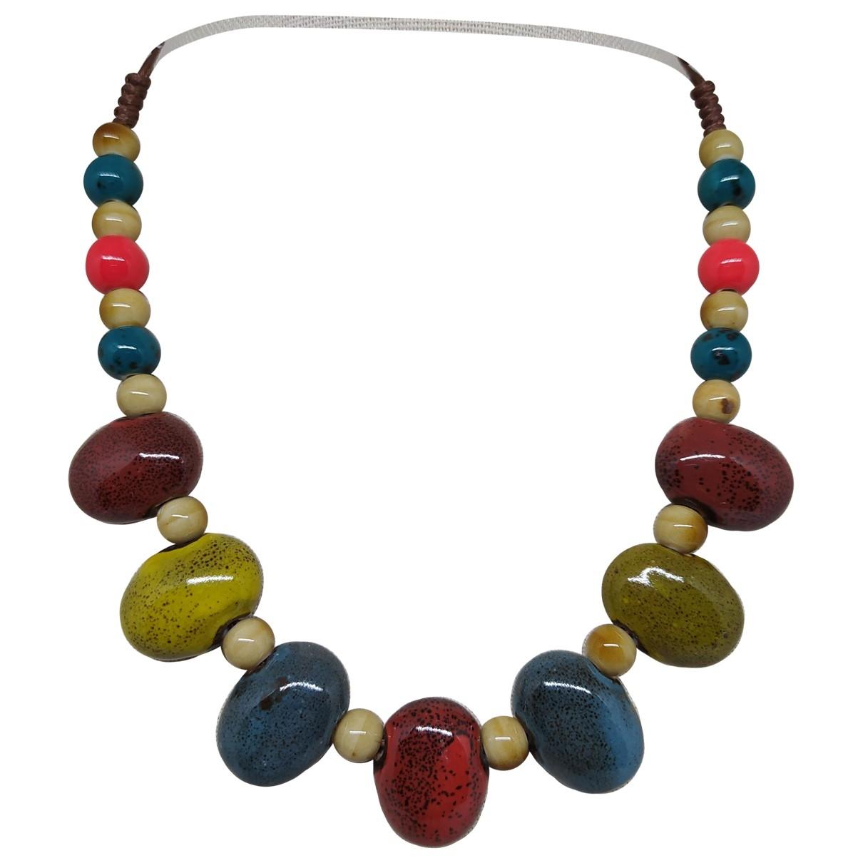 - Collier Motifs Ethniques pour femme en ceramique - multicolore