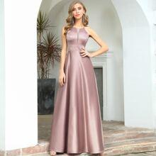 Satin Prom Kleid mit Netzstoff Einsatz und Neckholder