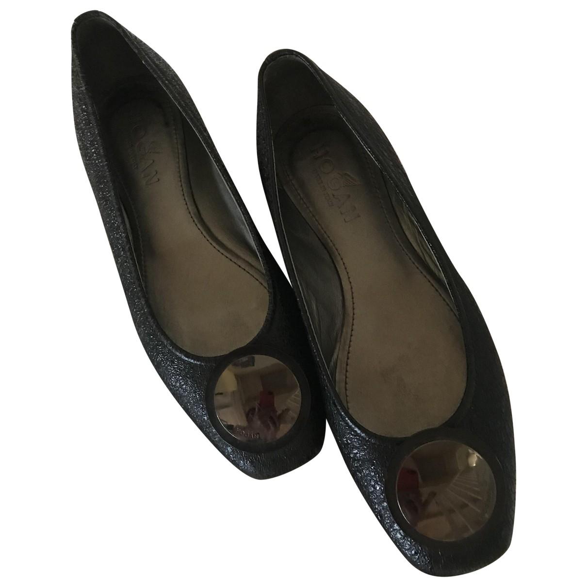 Hogan - Ballerines   pour femme en cuir - noir