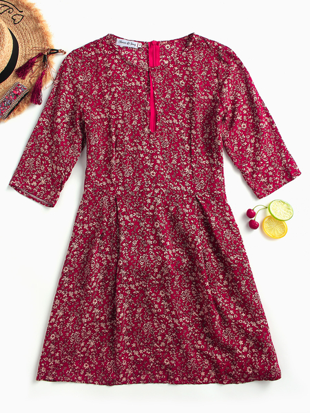 Yoins Red Button Keyhole Design Random Calico Print Round Neck Half Sleeves Dress