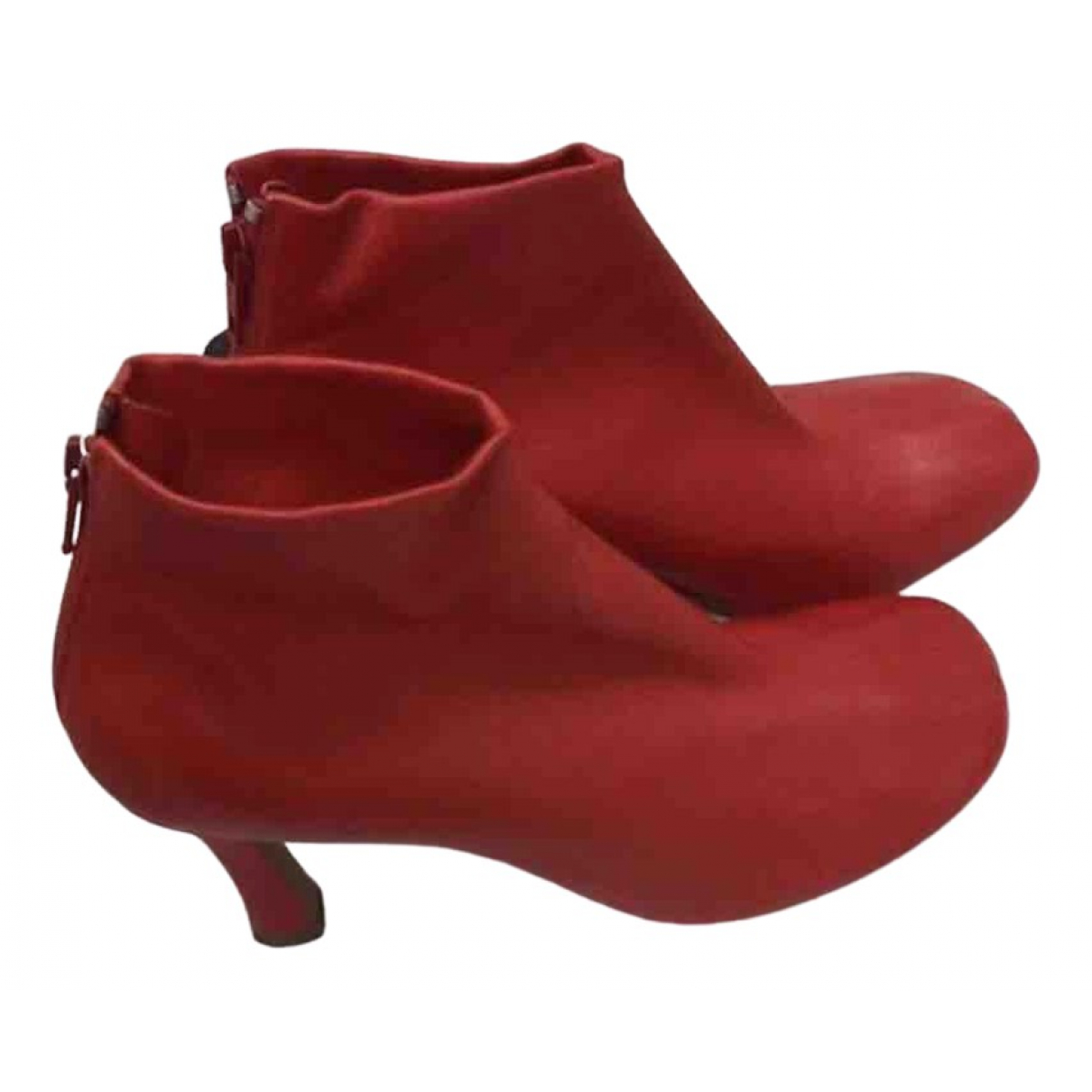 Celine \N Red Leather Ankle boots for Women 38.5 EU