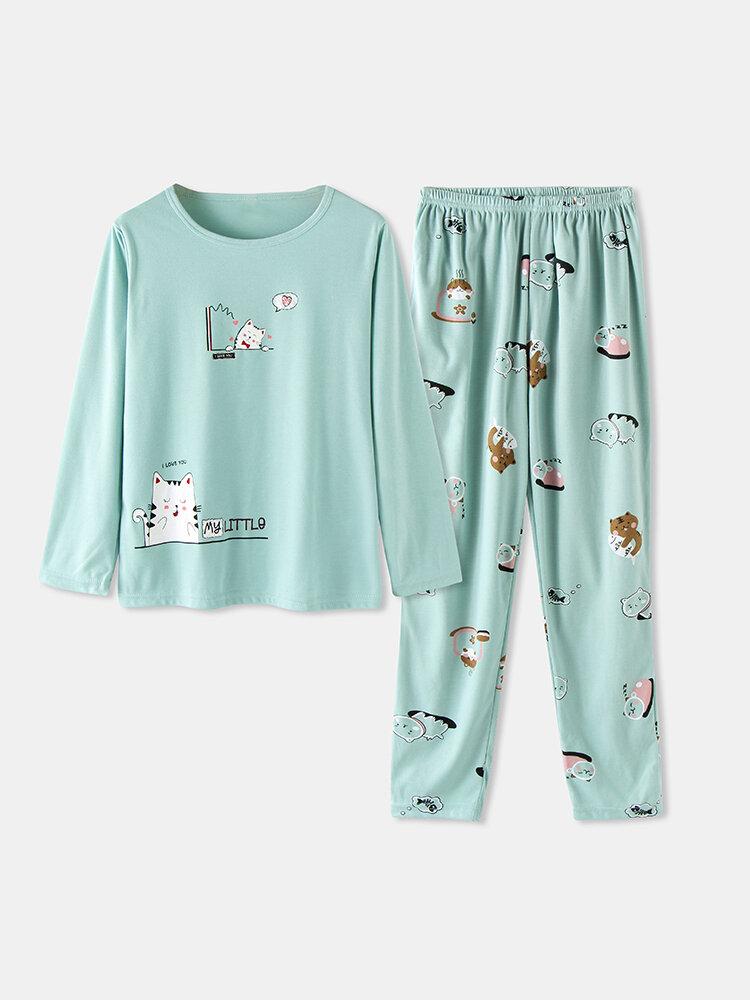 Women Cute Cartoon Animal Print Pajamas Set Long Sleeve O-Neck Loungewear