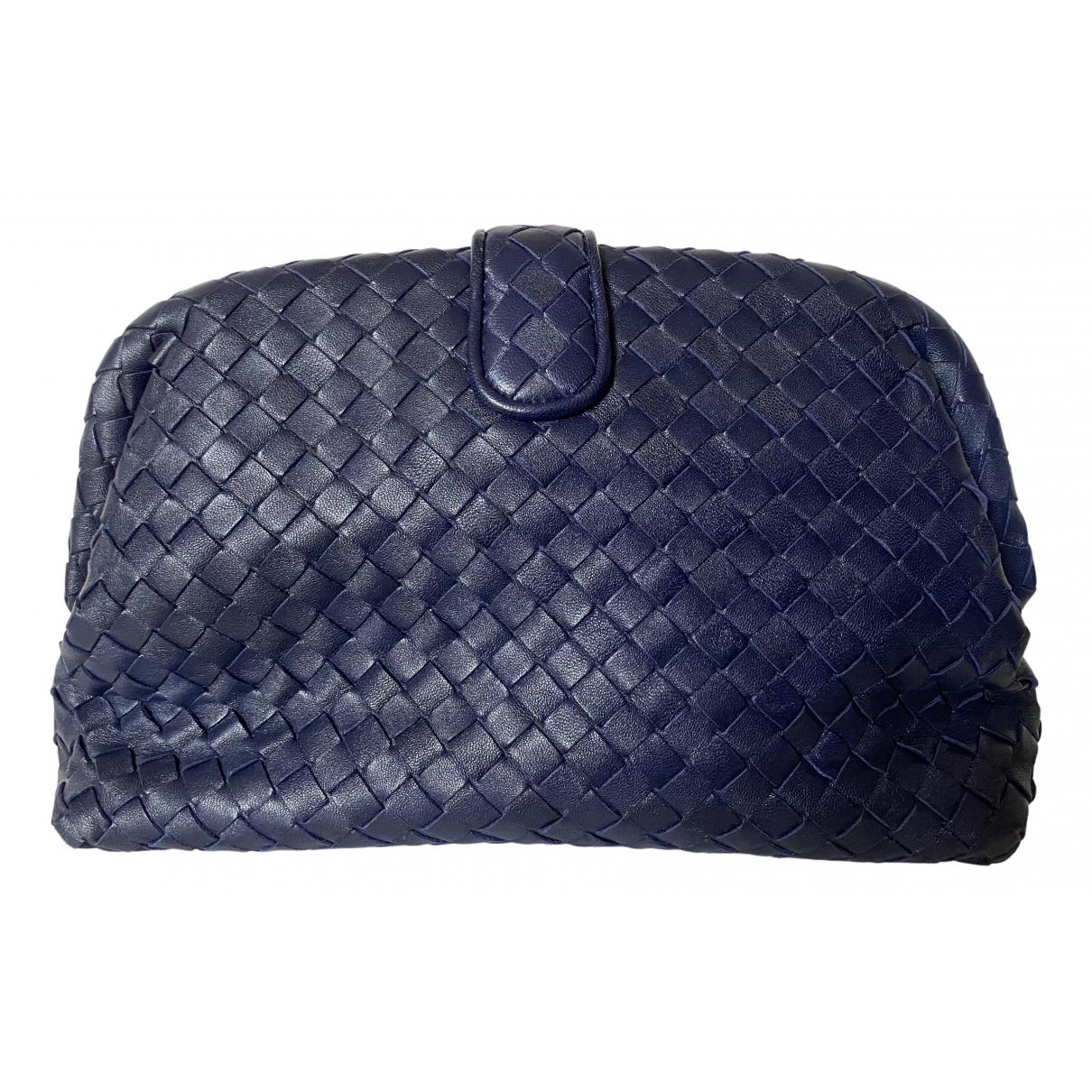 Bottega Veneta - Pochette   pour femme en cuir - bleu