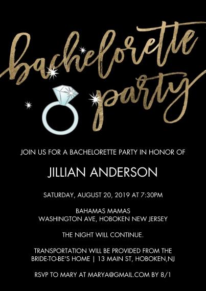 Wedding Shower Invites 5x7 Cards, Premium Cardstock 120lb, Card & Stationery -Bachelorette Party Gold Script
