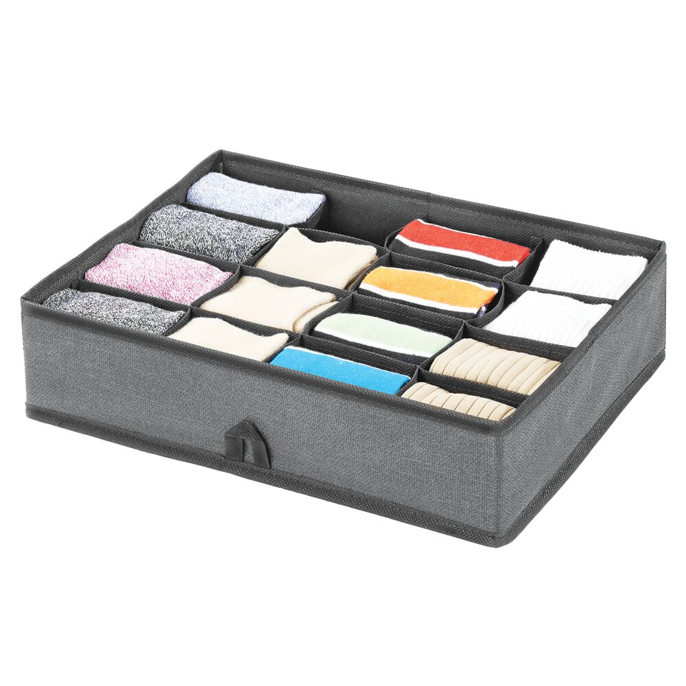 16 Compartment Fabric Divided Drawer Organizer in Charcoal/Black, 13.75