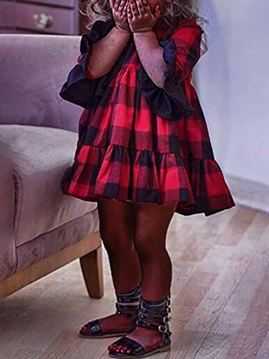 LW Lovely Trendy O Neck Grid Print Red Girl Knee Length Dress