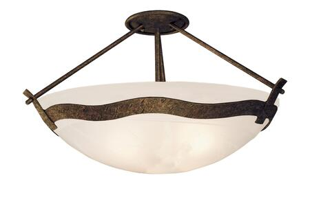 Aegean 5457TO/ART 3-Light Semi Flush Mount Ceiling Light in Tortoise Shell with Art Nouveau Natural Bowl Glass