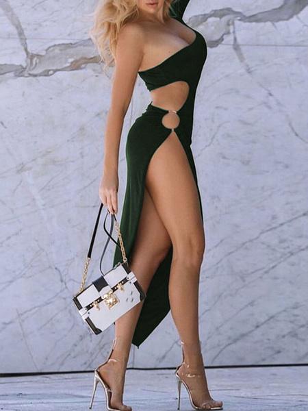 Milanoo Club Dress Asymmetrical Neck Sexy Grommets Long Sleeves Polyester Black Sexy Dress