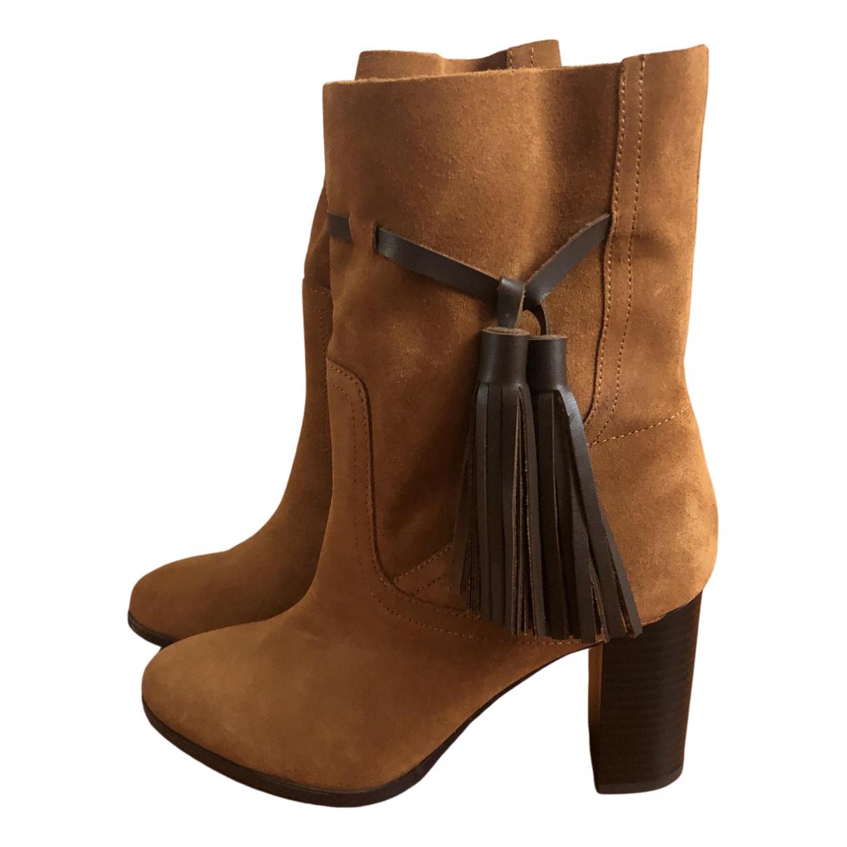Mango - Boots   pour femme en cuir - camel