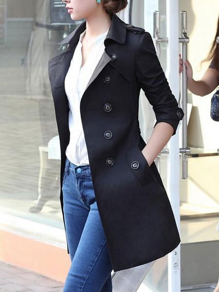 Milanoo Outerwear For Woman Turndown Collar Buttons Retro Khaki Wrap Coat