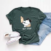 T-Shirt mit Katze & Buchstaben Grafik