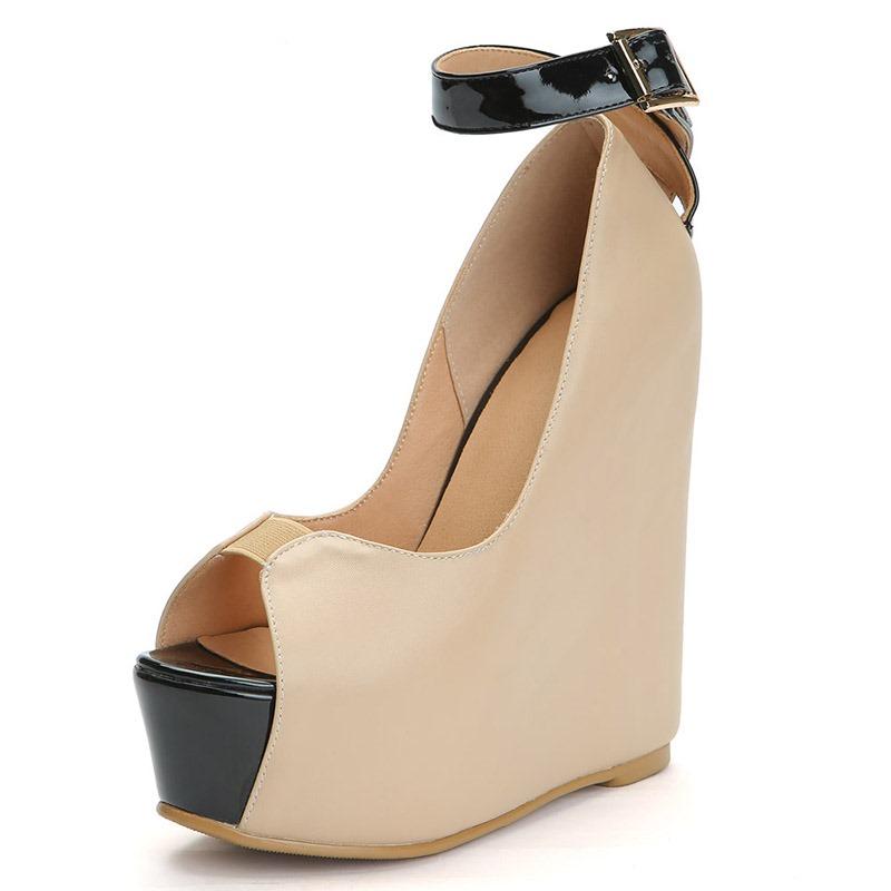 Ericdress Peep Toe Line-Style Buckle Wedge Heel Women's Sandals