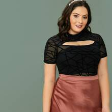 Plus Mock-Neck Cut Out Geo Flocked Mesh Top Without Bandeau