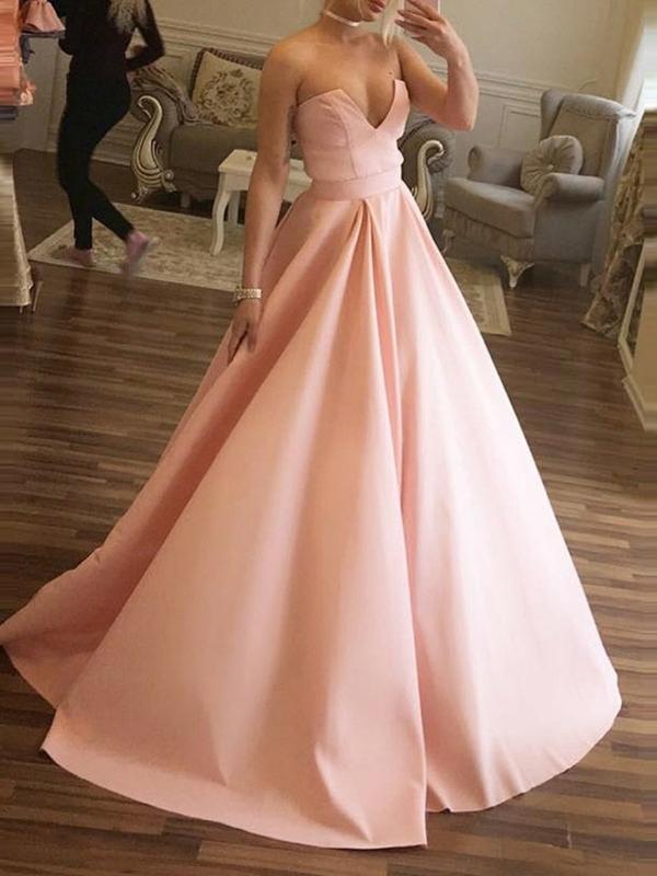 Sweep/Brush Pleats Ball Gown Sleeveless Prom Dress