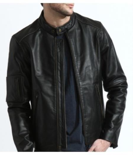 The Classic Distressed Moto Jacket In 1 Genuine Cowhide Leather