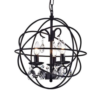 320389 Tess Black-finish Metal/ Crystal 15-inch Round Crystal Chandelier in