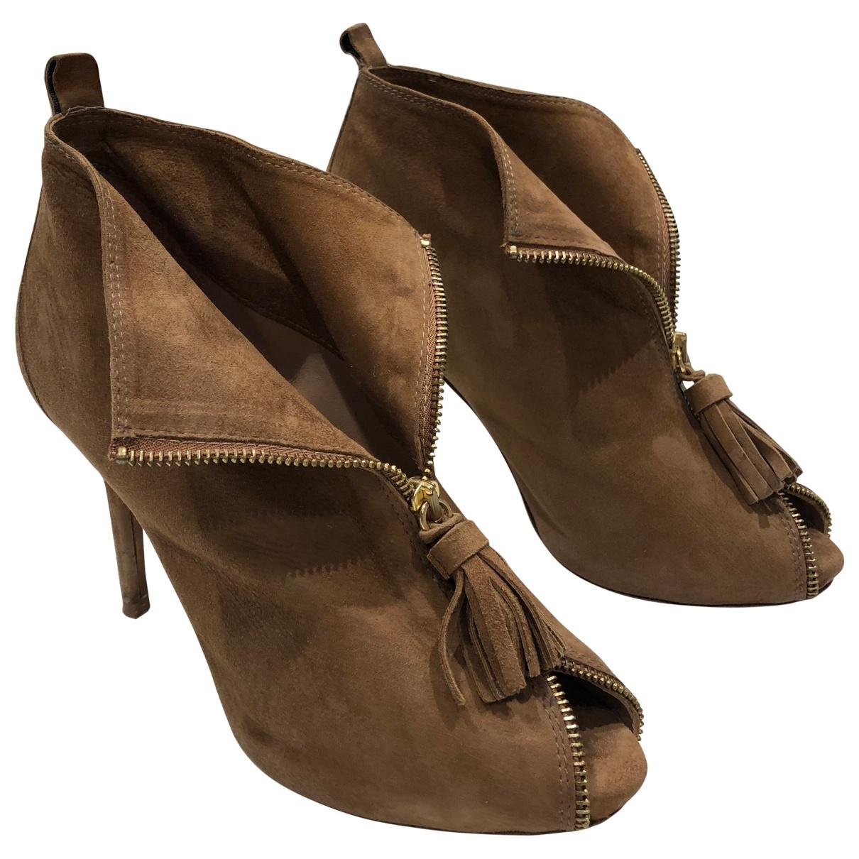 Uterque - Boots   pour femme en suede - camel
