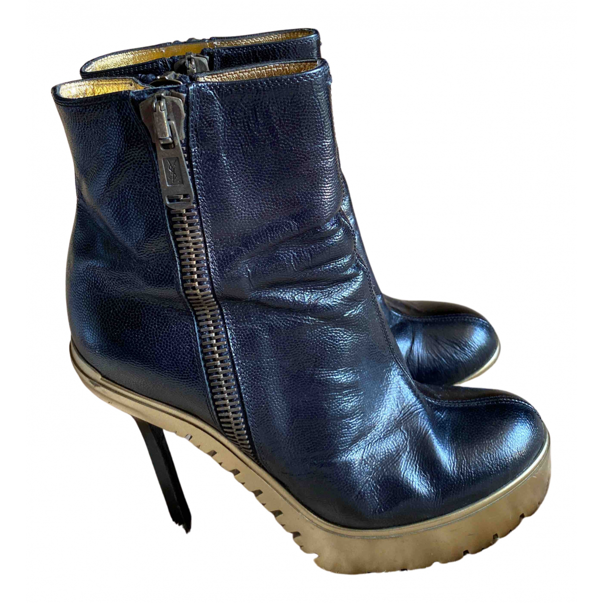 Yves Saint Laurent N Black Leather Ankle boots for Women 39 EU