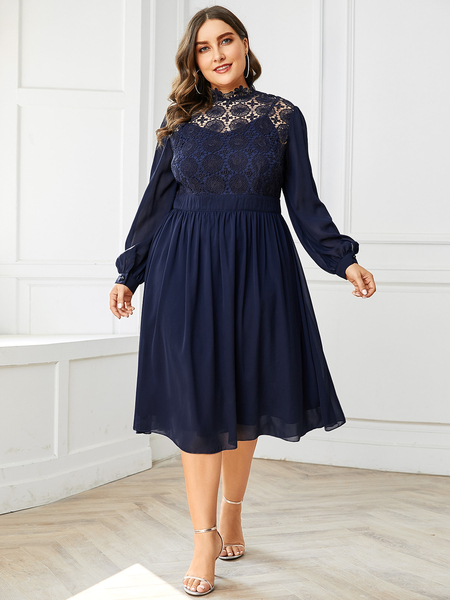 YOINS Plus Size Patchwork Lace Insert Stand Collar Dress