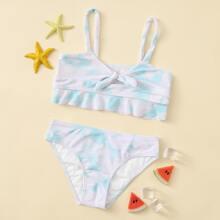 Bañador bikini de niñas con nudo delantero de Tie Dye
