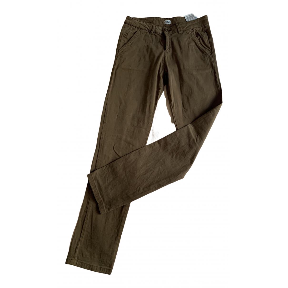 Reiko N Khaki Cotton Trousers for Women 36 FR