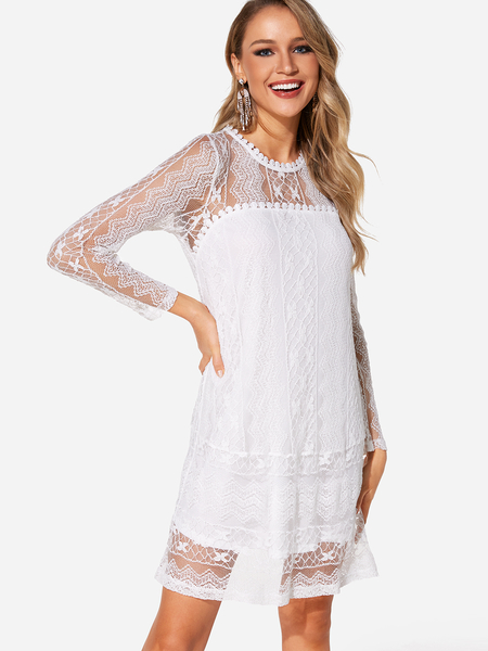 Yoins White Lace Long Sleeves Tiered Details Mini Length Dress