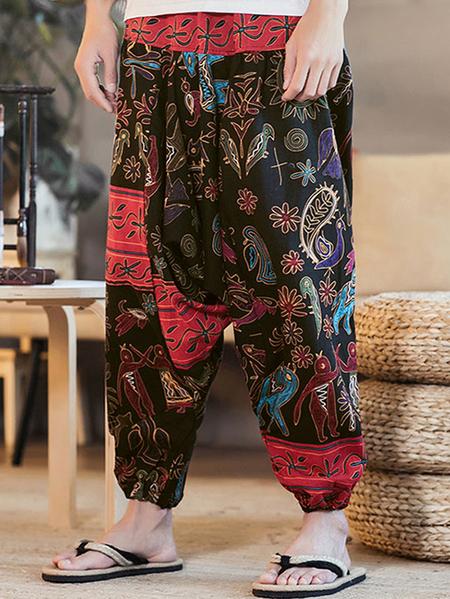 Yoins INCERUN Men Ethnic Printing Paisley Print Loose Casual Harem Trousers