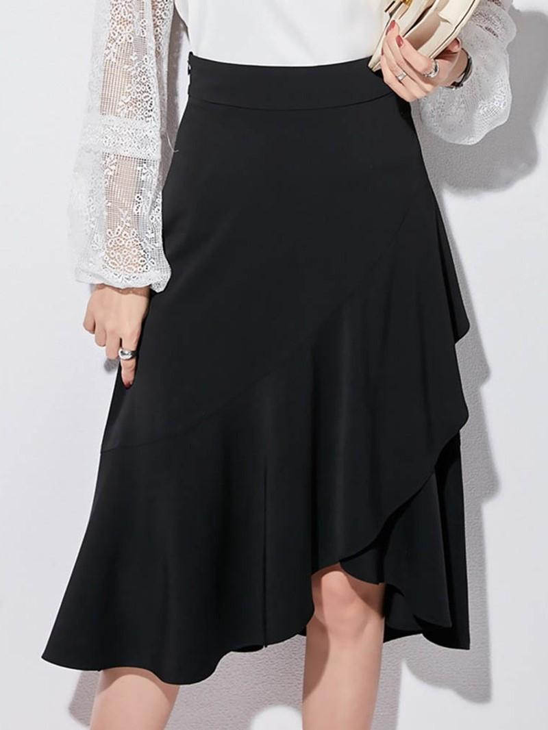 Ericdress Asymmetrical Knee-Length Plain Casual High-Waist Skirt