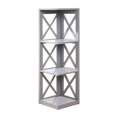 Oxford 3-Tier Corner Bookcase, One Size , Gray