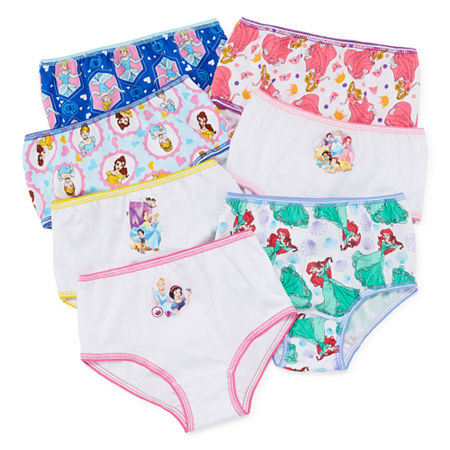 Disney Little Girls 7 Pack Disney Princess Brief Panty, 8 , Multiple Colors