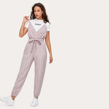 Striped Belted Surpliced Jumpsuit