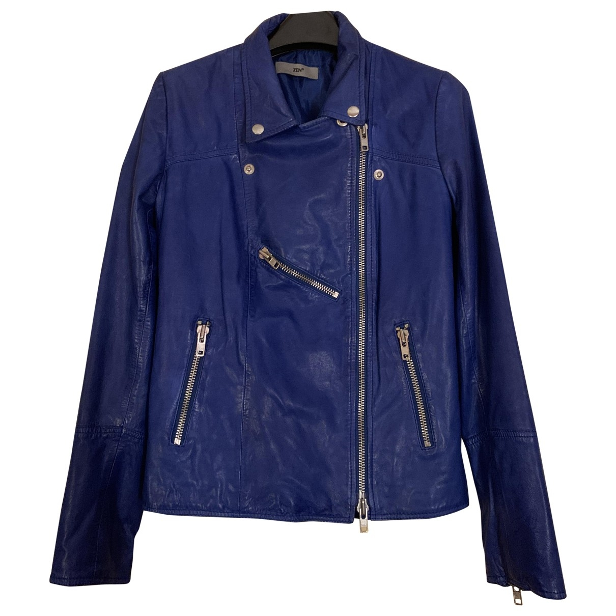 Non Signé / Unsigned \N Blue Leather Leather jacket for Women 46 IT