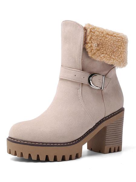 Milanoo Women Shearling-lined Boots Round Toe 3.1 Block Heel Booties
