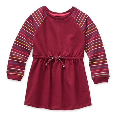 Okie Dokie Toddler Girls Long Sleeve Swing Dresses, 3t , Red