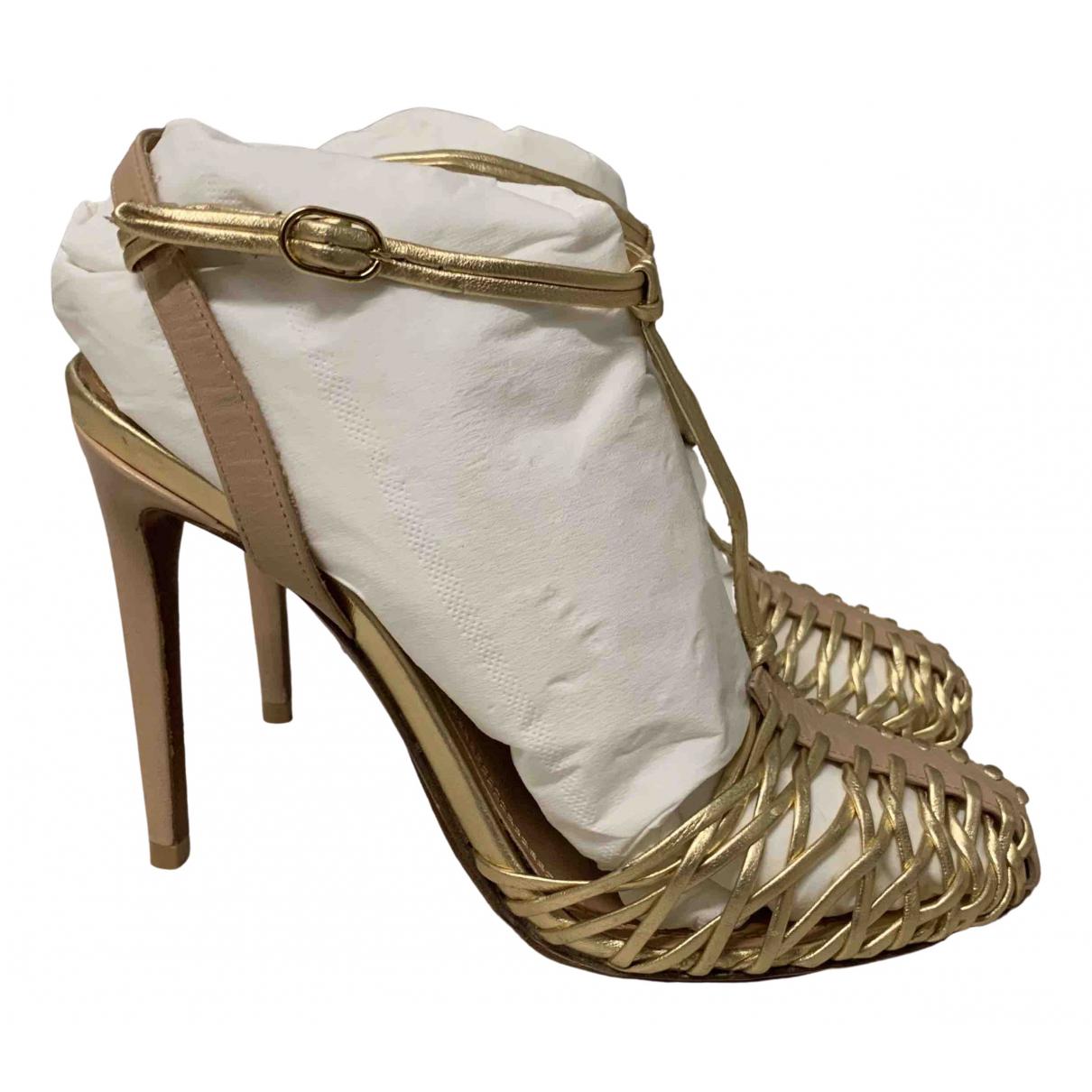 Ralph Lauren Collection - Sandales   pour femme en cuir - dore