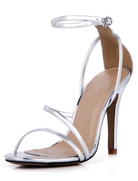 Milanoo High Heel Sandals Womens Silver Open Toe Ankle Strap Stiletto Heels Sandals