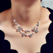 Faux Pearl & Rhinestone Decor Necklace
