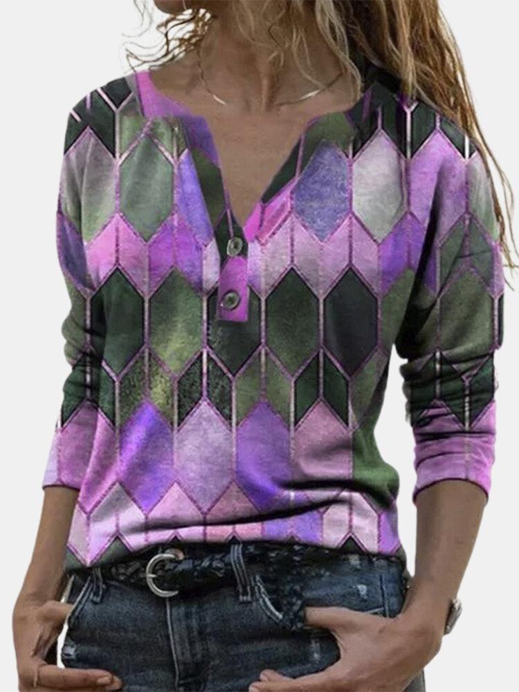 Geometric Printed Long Sleeve Lapel Collar Blouse For Women
